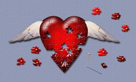 A winged pinned puzzle piece heart Stock Photo