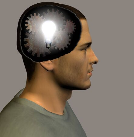 Lit bulb and gears inside head Stock Photo - 893080