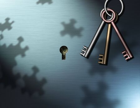 Keys Hang near a key hole, puzzle piece shadows are cast upon the wall, behind the keyhole some money can be seen photo