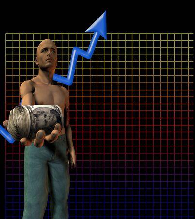 Graph, upward arrow, man holds out cash