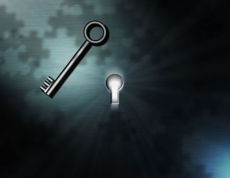 Enigma: A bright light shines from a keyhole, puzzle piece shadows, and a waiting key Stock Photo - 893144