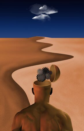 conscious: Thinking Man: Inside thinking mans opened mind in desert