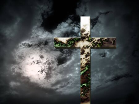end times: Strange skys reflected in a cross: End Times? Stock Photo