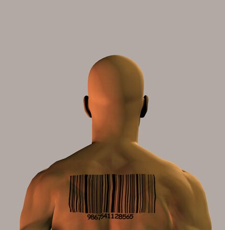 end times: A muscular man with a barcode upon his back Stock Photo