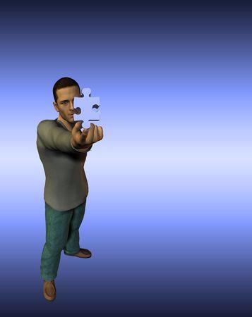 finger tip: Man holds puzzle piece on finger tip