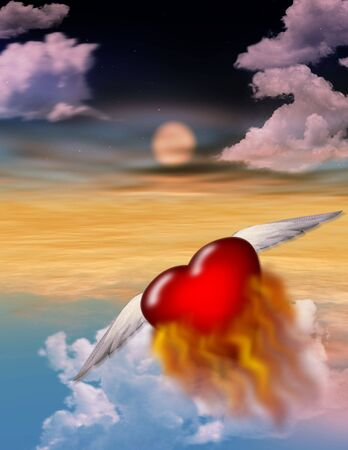 A burning heart flys off alone into the twilight