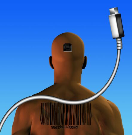end times: Human with barcode to plug directly into computer, internet