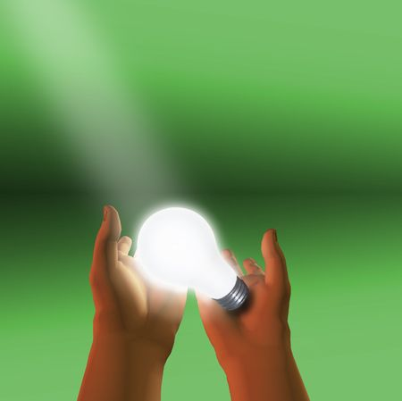 Spotlight on lit bulb held in hands Stock Photo - 1353785