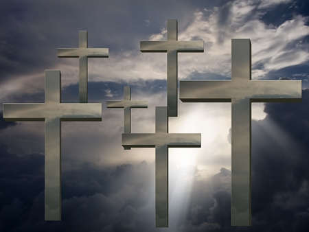 consecrated: Crosses and sky Stock Photo