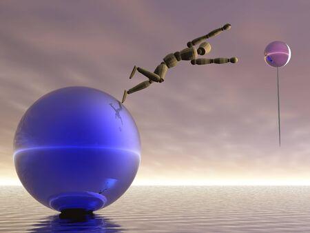 Manikin leaping toward an balloon