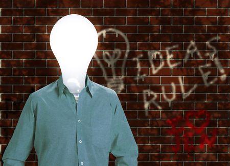dea: dea man before a graffiti covered wall