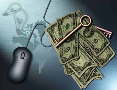 secure site: The Internet and Money features keys, cash a computer mouse and a map of the earth