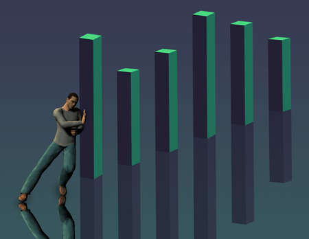 topple: Man pushes against 3 dimensional bar chart Stock Photo