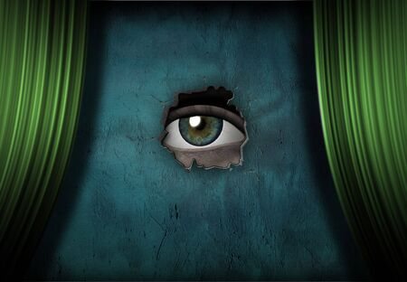 Eye Peers aus grünen curtained Phase