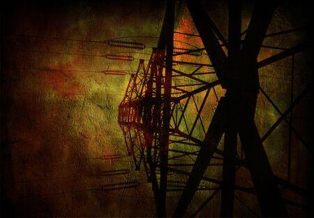 redes electricas: L�neas de Alta Tensi�n de alimentaci�n Foto de archivo