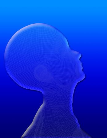 Profile of womans head on blue photo