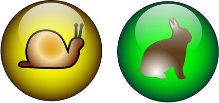 Szkło Web Buttons szybko i wolno Symbole