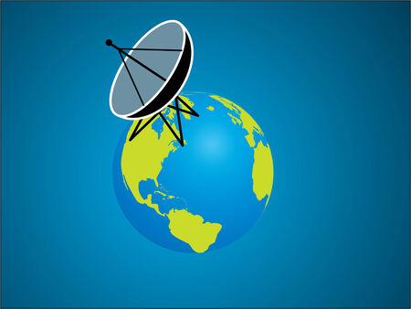 sattelite:  Satellite on earth Illustration