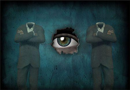man made: Eye watches 2 headless man made of text