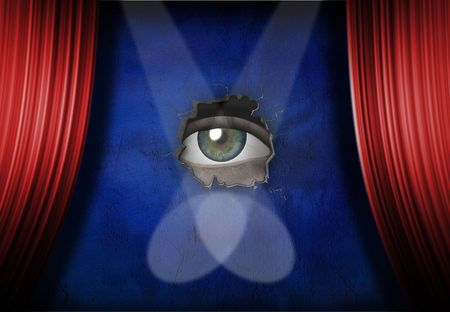 Eye peers out from stage