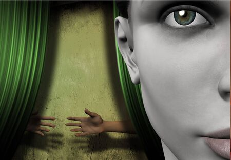 behind the scenes: Surreal image represents things hidden Stock Photo