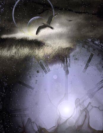 Spirit, bird in flight, night, ancient clock