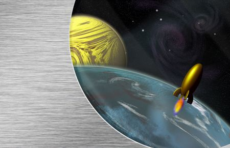 inter: Space Ship and planets seen from inside space vehicle