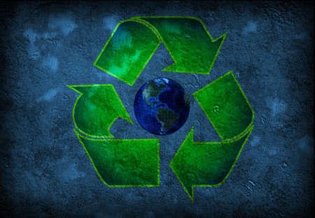 environmental awareness: Recycle Earth grunge Stock Photo