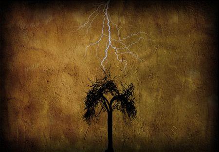 deteriorate: Tree with lighting grunge Stock Photo