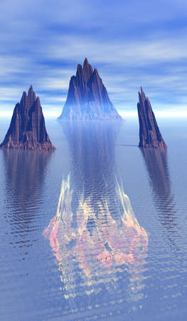 Fire burns above water in surreal landscape photo