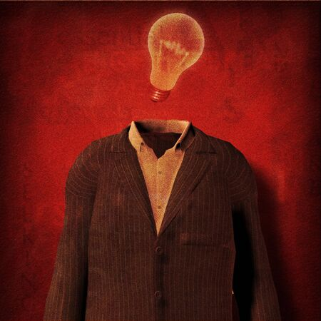 Suit and light bulb part of text grunge painting photo