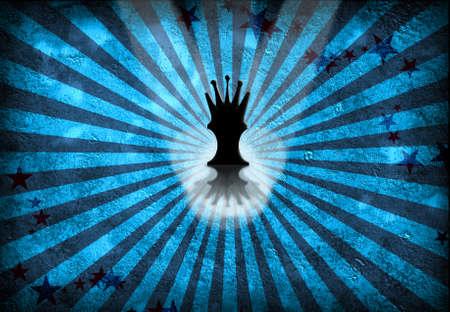 Queen Chess Piece on blue grunge photo