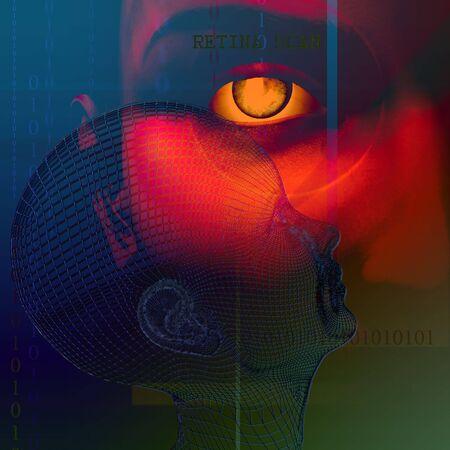 retina scan: Retina Scan Abstract Stock Photo