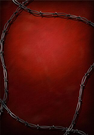 Red grunge background with barbed wire photo