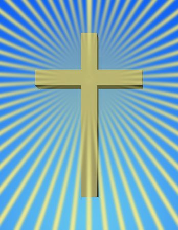 beaming: A cross with rays beaming Stock Photo
