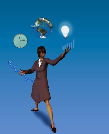 hectic life: Business woman Juggles tasks