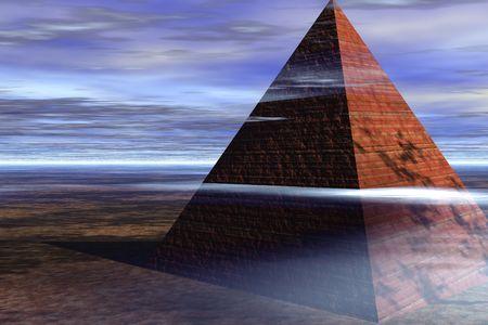 phantasy: Pyramid in cloudy landscape Stock Photo