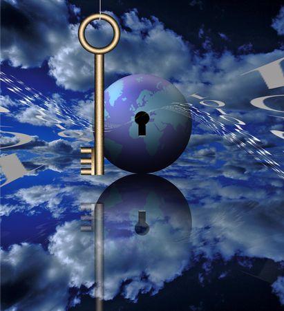 A key, binary code and the globe photo