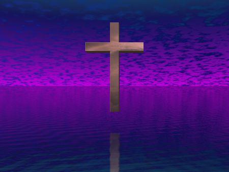Cross in purple sky photo