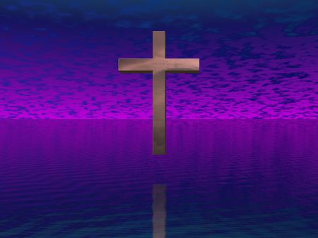 lent: Cross in purple sky