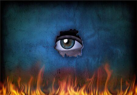 Eye looks through broken wall at fire