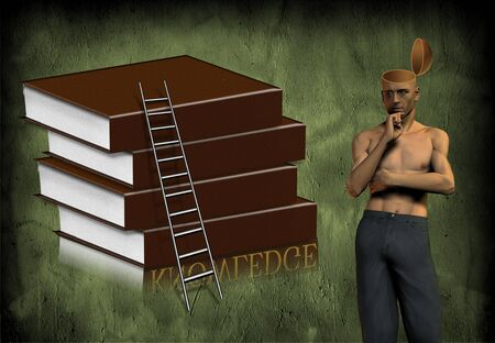 open minded: Open minded man with books and ladder