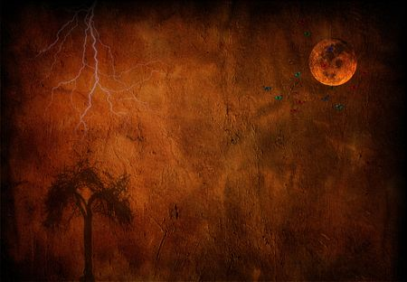 Moon, tree with lightning night Stock Photo - 2114241