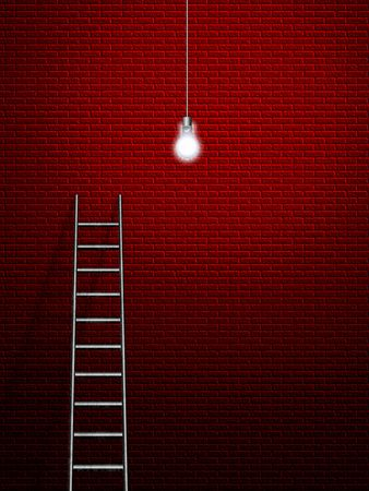 High-res Ladder, wall and lit bulb
