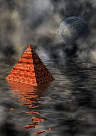phantasy:  Pyramid in watery landscape Stock Photo