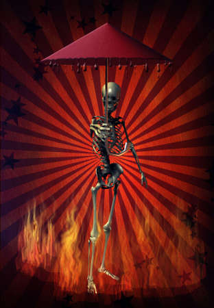 trickery:  A demonic figure offers a dripping umbrella in a fire - an unprofitable exchange - trickery