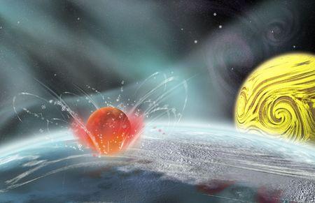 Planetary Impact Stock Photo