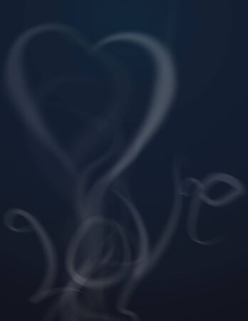 eternally: Love and heart formed of ethereal smoke