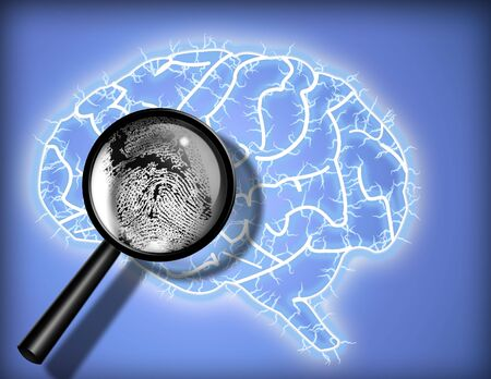 psychoanalysis: Brain Fingerprint - Identity - Psychoanalysis Stock Photo