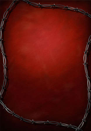 Red grunge background with barbed wire